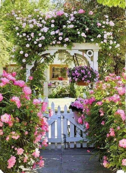 Rose arbor through the garden gate Pinterest