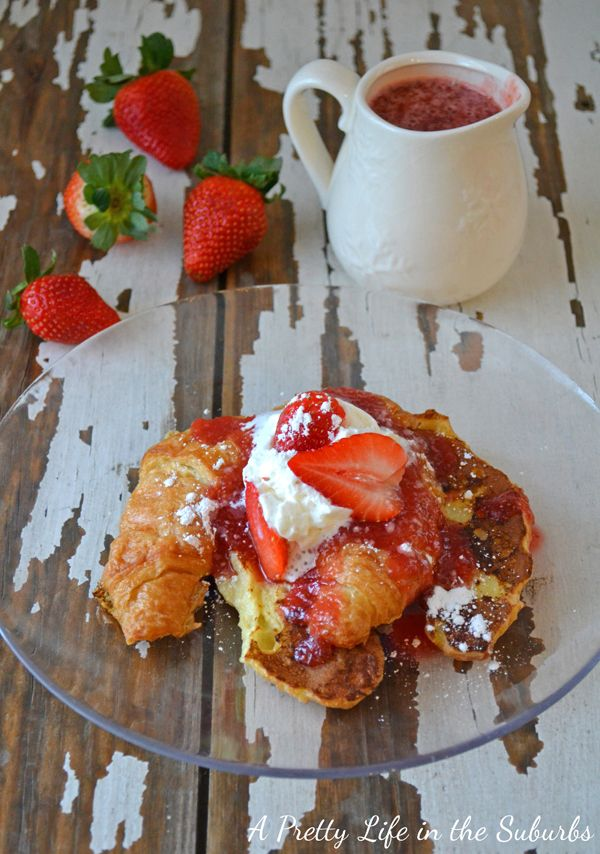 Croissant French Toast with Strawberry Syrup
