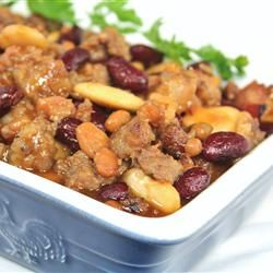 Baked Calico Bean Casserole (sub organic ketchup, ground turkey ...