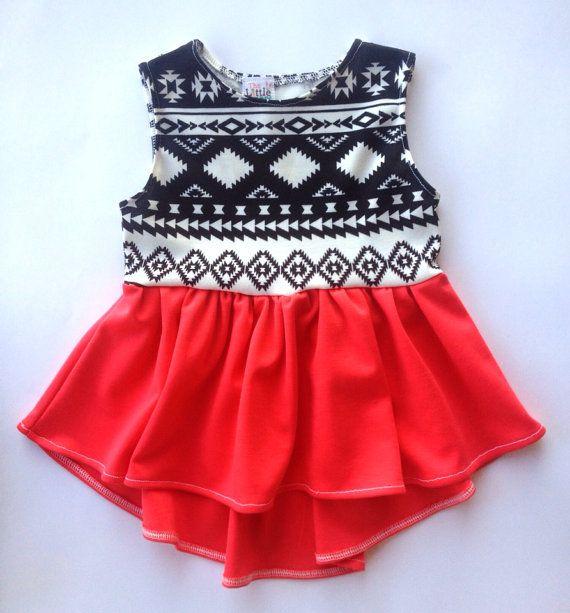 High low dress toddler girl aztec coral tribal arrow dress baby dress