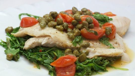 tilapia with arugula, capers & tomatoes | recipes I tried... | Pinter ...