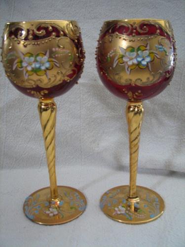 2 Antique Wine Glass Клюква Bohenian Чешская Moser