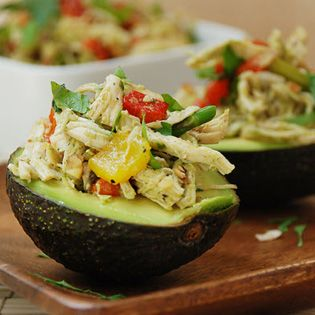 Chicken Salad with Roasted Bell Pepper in Avocado Cups. #paleo