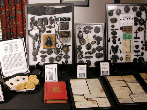 Mourning jewellery collection. Stationary and biscuits