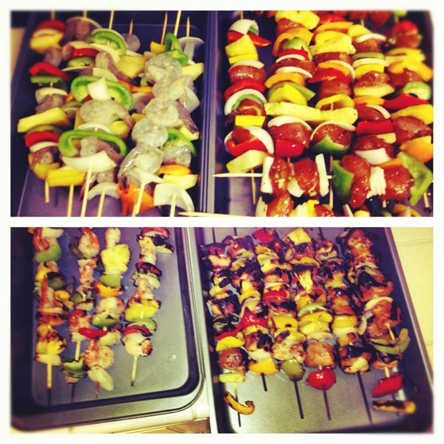 Teriyaki chicken and shrimp skewers with grilled pineapple and veggies ...