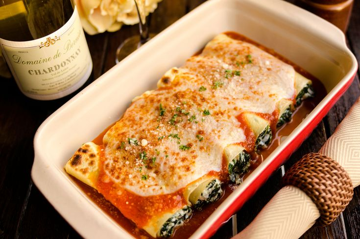 Homemade Spinach and Ricotta Manicotti Baked in Tomato Sauce with ...
