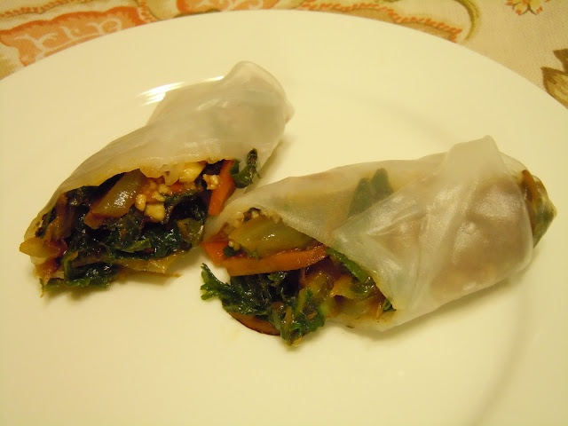 Stir Fried Swiss Chard Rice Wraps with Spicy Honey Cashew Sauce