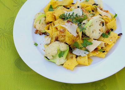 Pappardelle With baby cauliflower, pine nuts, bacon and parmesan