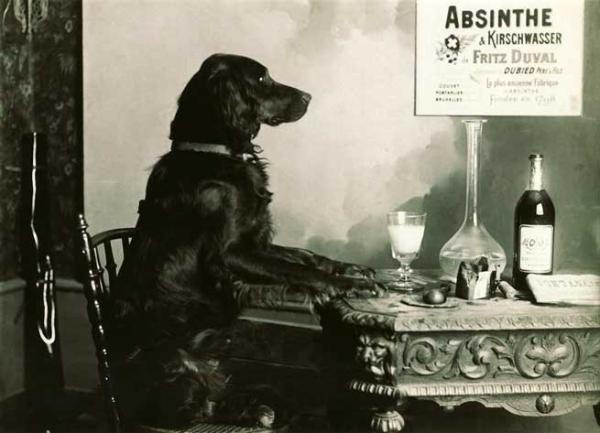 The very rare Absinthe and Dog print.