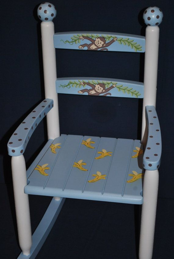 Kids custom hand painted rocking chair boys monkey with for Kids chairs for boys