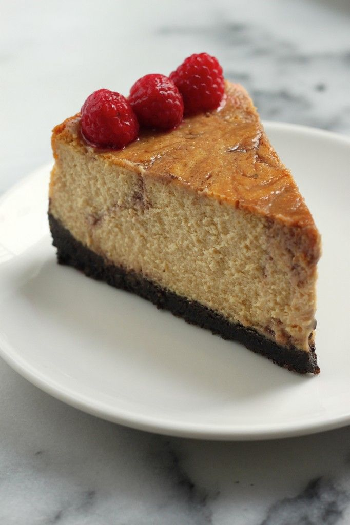 Brown Sugar Raspberry Swirl Cheesecake