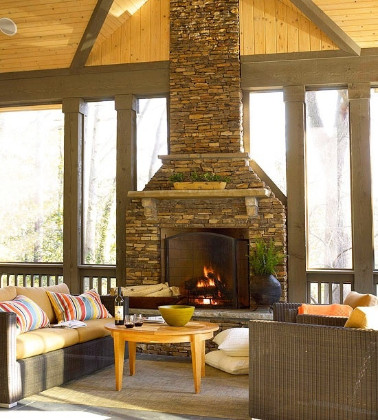 Screened in porch with fireplace for the home pinterest for Screened in porch fireplace ideas