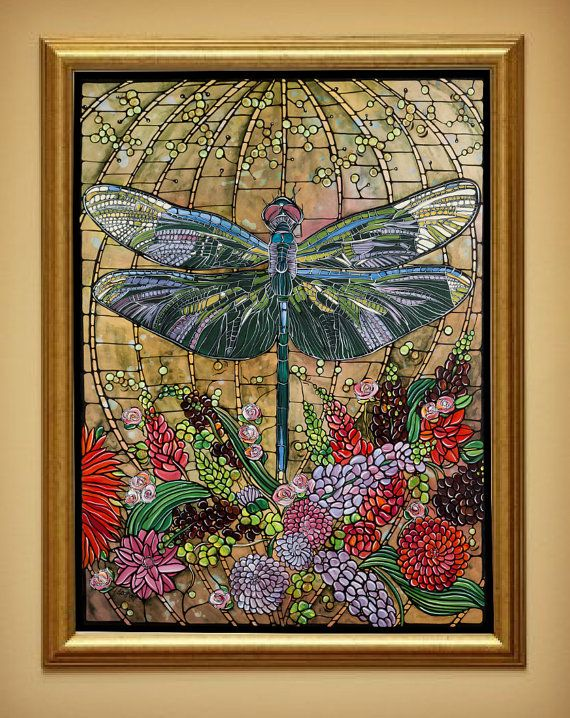 Dragonfly Art Nouveau Print Home Decor Stained Glass Look Illustrat