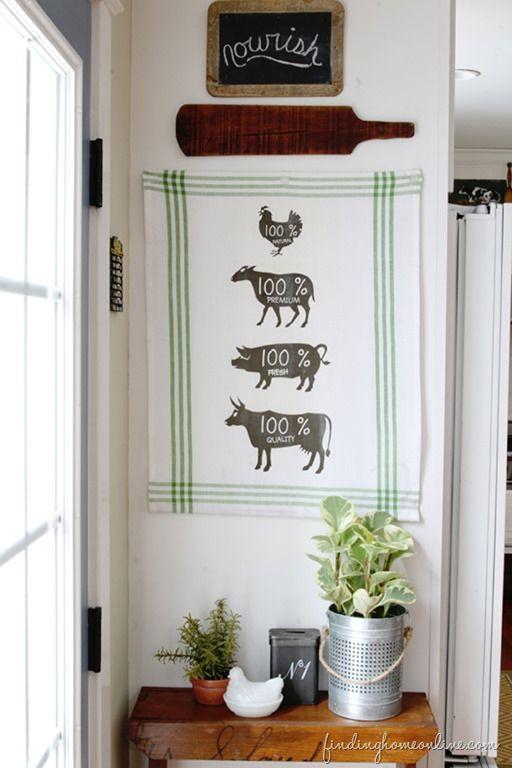 Kitchen Decorating Ideas Diy Butcher Sign Tea Towel