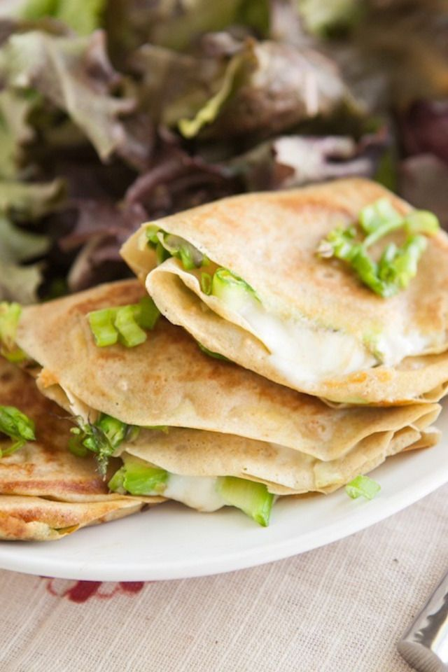 Grilled Cheese Crepes with Shaved Asparagus