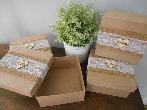 Rustic Personalized Bridesmaid Gift Box Jewelry Keepsake Gift Box ...