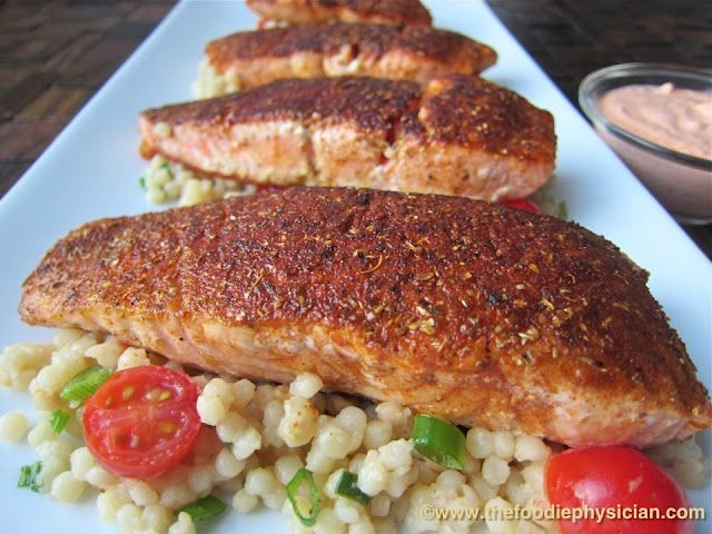Moroccan Spiced Salmon with Harissa Yogurt and Pearl Couscous