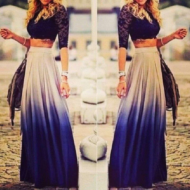 blue and white maxi skirt with crop top my style