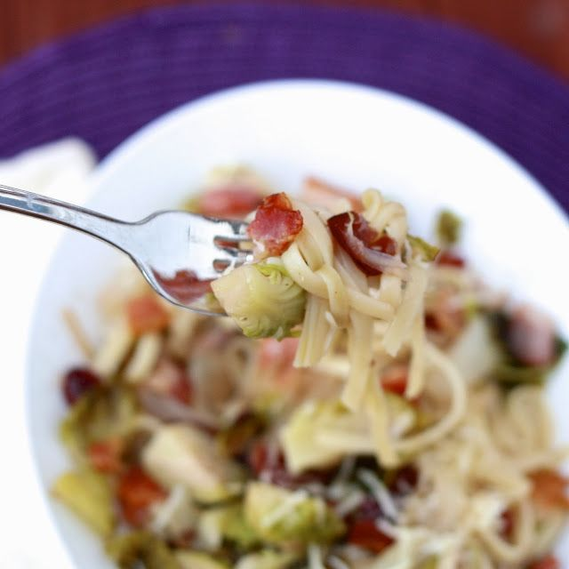 Linguine with Brussels Sprouts, Cranberries, and Caramelized Onions