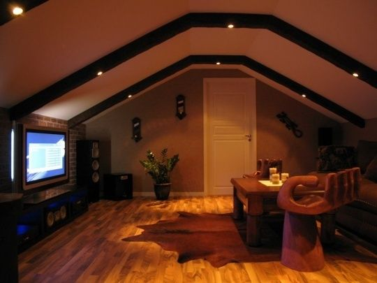 close up a godly attic media room renovation