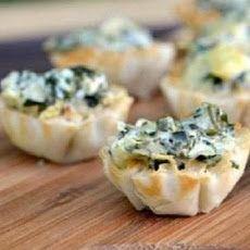 Spinach Phyllo Cups Recipe | Yummy Yummy | Pinterest
