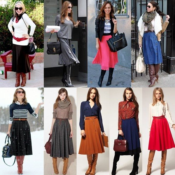 knee high boots with midi skirt inspiration