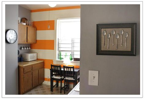 Love the orange and whie striped wall for the home pinterest