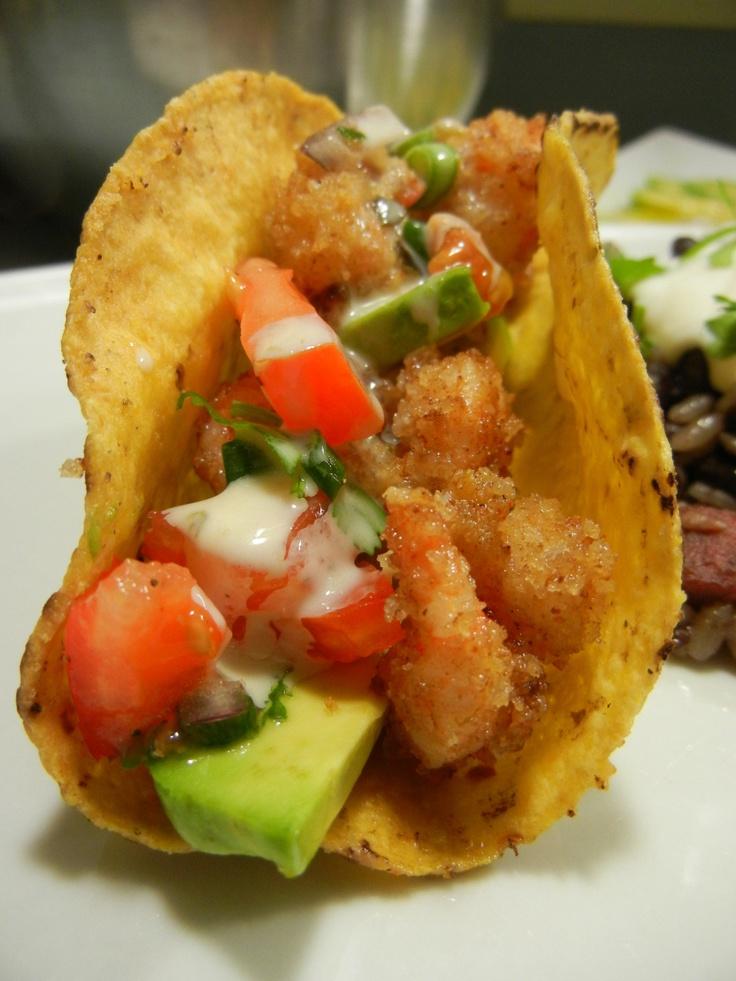 Popcorn shrimp tacos | Shrimp | Pinterest