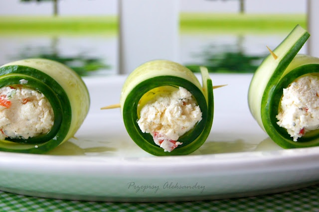 cucumber rolls w/feta & red chili | Naughty Aristology | Pinterest