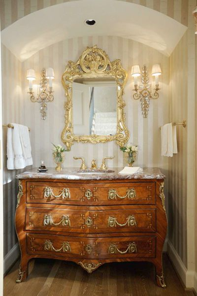 Elegant powder room powder room pinterest for Baroque style bathroom