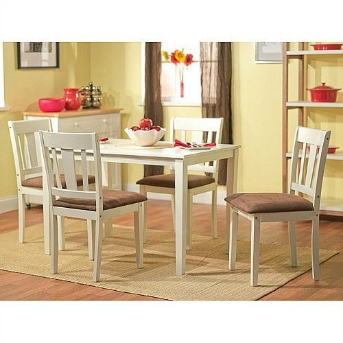 White dining room kitchen table set dinette furniture 5 for Kitchen dinette sets