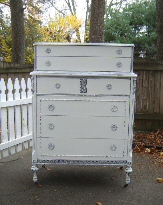 Vintage White Tall Six Drawer Dresser Shabby Chic Furniture