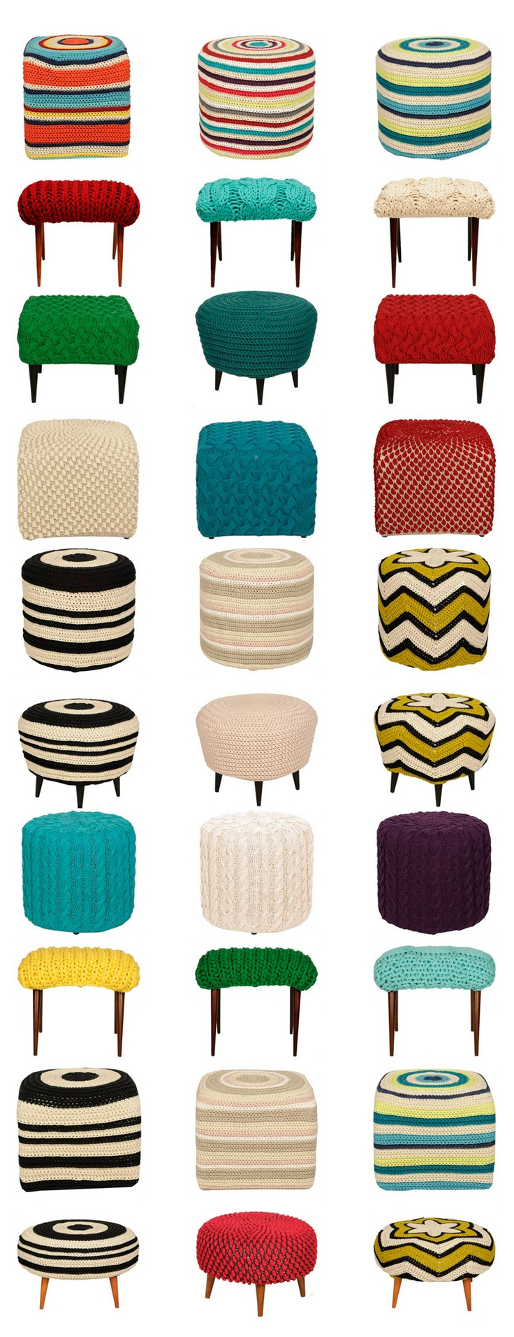 puffs trico e croche zizi maria - stool covers