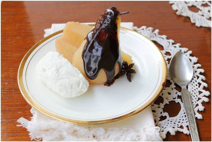 Spiced Poached Pear With Chocolate Sauce Recipe — Dishmaps