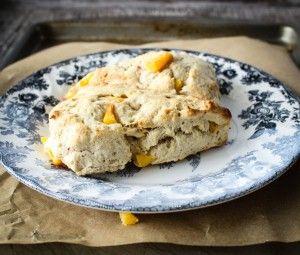 Peach Cobbler Scones -- homemade dough and frozen peaches