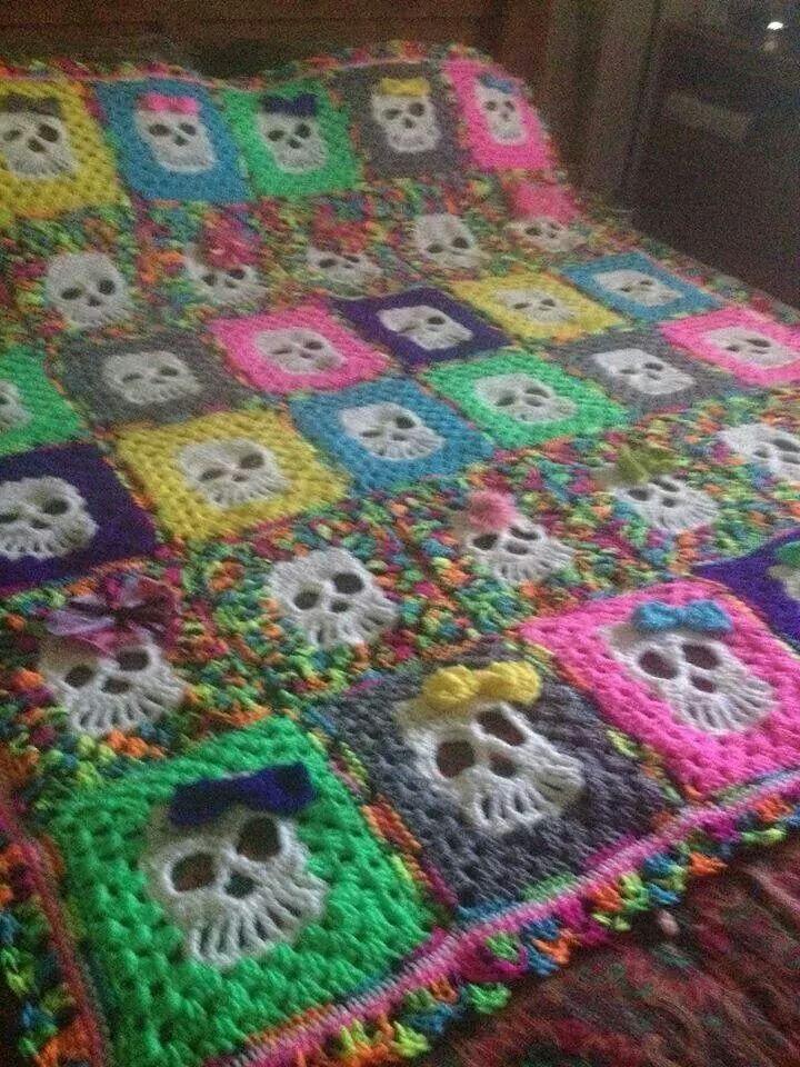 Skull crochet baby blanket