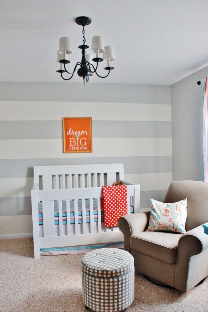 Gray Striped Orange and Aqua Nursery - #nursery #modern