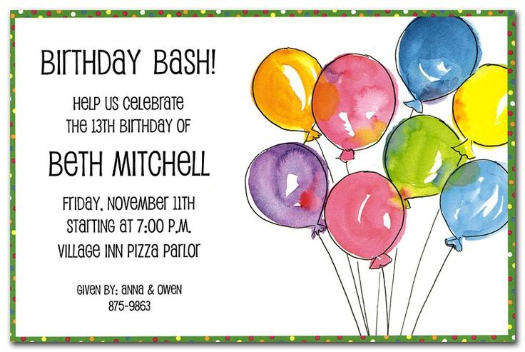 Birthday invitation - Balloons | Big bright balloons birthday bash