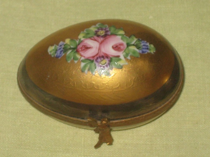Vintage Лимож Peint Главная Фарфор Яйцо Аксессуар Jewelry Box розовых роз на свинка фигурными закрытие