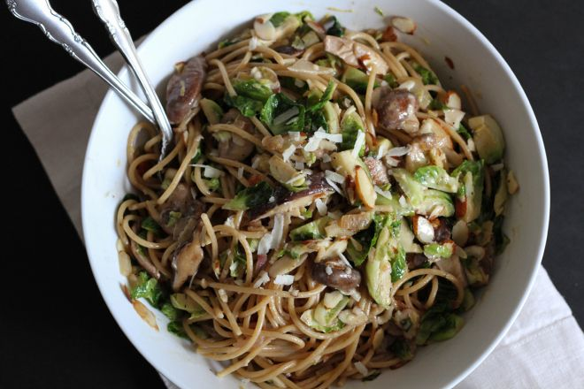 Spaghetti with Brussels Sprouts, Mushrooms, and Creme Fraiche | Lattes ...