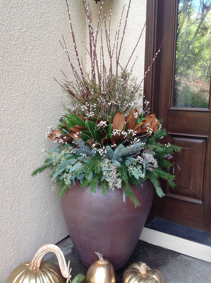 Winter outdoor arrangement creative containers by for Landscape arrangement