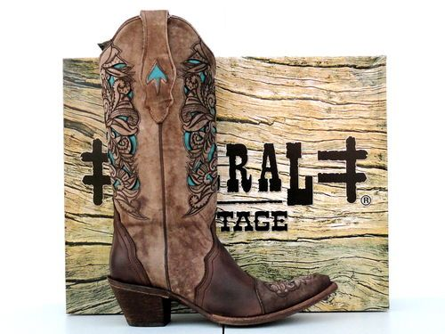 Corral Womens Brown Turquoise Laser Tool Cowgirl Boot | eBay