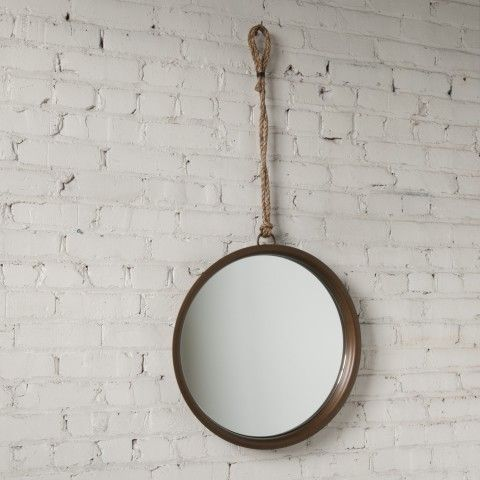 Higgins round mirror with rope hanger home decor pinterest for Mirror hangers