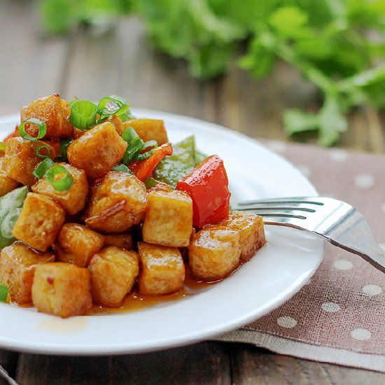Kung Pao Tofu--tofu stir-fried with kung pao sauce and peppers.