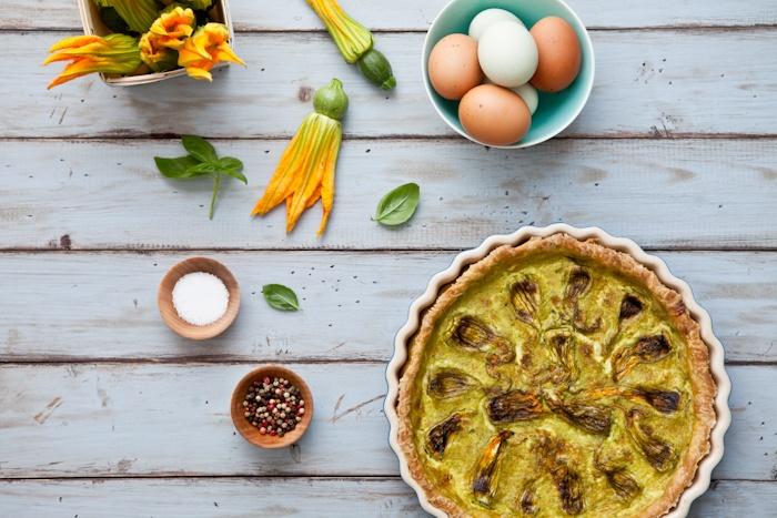 Squash Blossom Quiche With Feta & Basil Recipe — Dishmaps