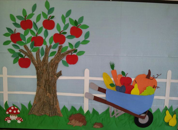 Autumn bulletin board apple tree bulletin boards for Apple tree classroom decoration