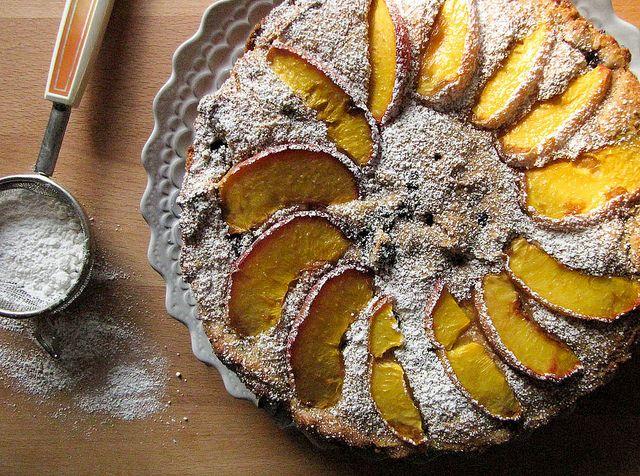 Peach and Blueberry Polenta Breakfast Cake by omelettablog, via Flickr