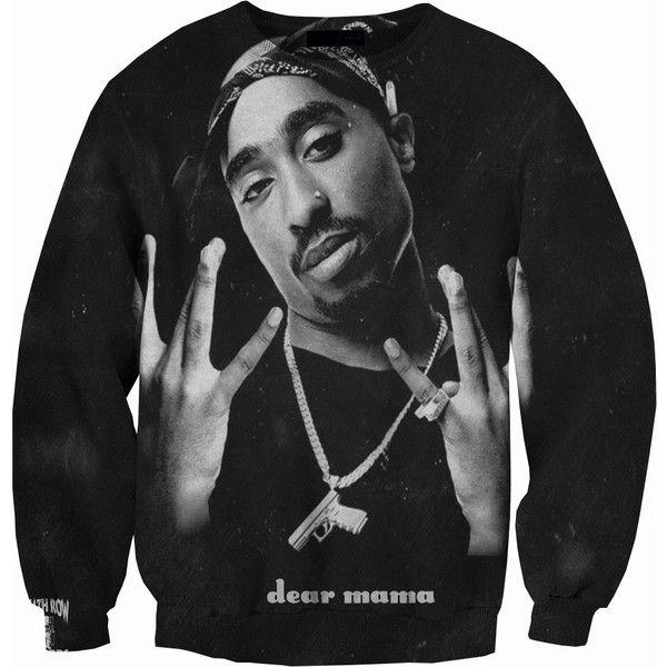 Tupac Crewneck Sweater Sweatshirt found on Polyvore