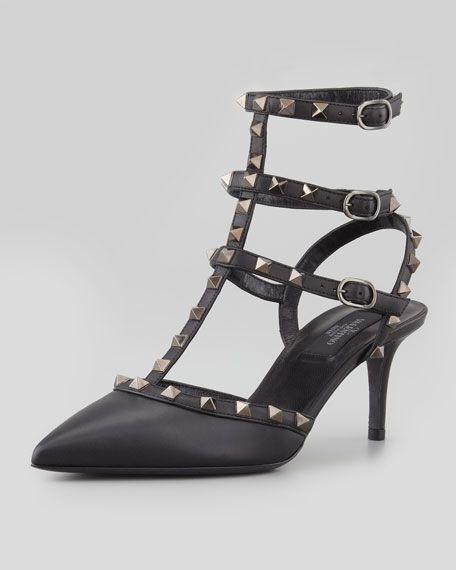 valentino noir rockstud slingback pumps