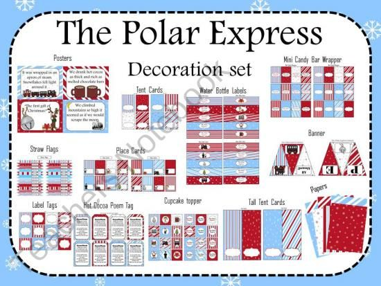 The Polar Express! Decorate your classroom pajama party with this decor set.  Print, glue and hang!